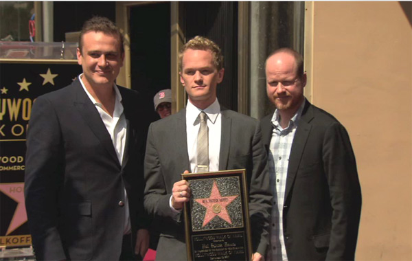 "<div class=""meta ""><span class=""caption-text "">Jason Segel, Neil Patrick Harris and Joss Whedon appear at Harris' star ceremony on the Hollywood Walk of Fame on Sept. 15, 2011. (Hollywood Chamber of Commerce)</span></div>"