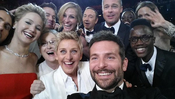 "<div class=""meta ""><span class=""caption-text "">Best and biggest celebrity selfie ever? - While speaking inside the audience, Ellen DeGeneres took a selfie with a slew of celebrities, including Jennifer Lawrence, Meryl Streep, Julia Roberts, Kevin Spacey, Brad Pitt, Lupita Nyong'o, Angelina Jolie, Bradley Cooper. (pic.twitter.com/C9U5NOtGap twitter.com/TheEllenShow/status/440322224407314432)</span></div>"