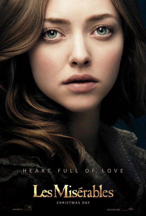 Amanda Seyfried appears as Cosette in this official poster for the 2012 movie 'Les Miserables.'
