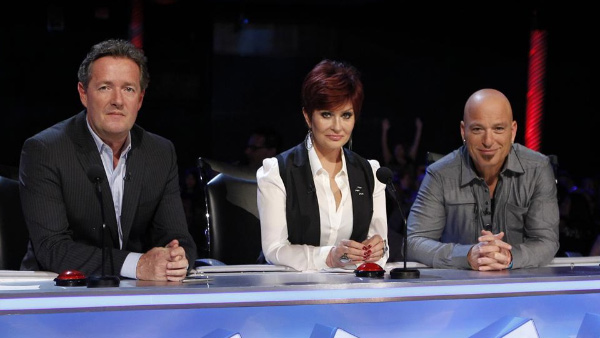 Sharon Osbourne appears in a scene from 'America's Got Talent' alongside fellow judges Piers Morgan and Howie Mandel.
