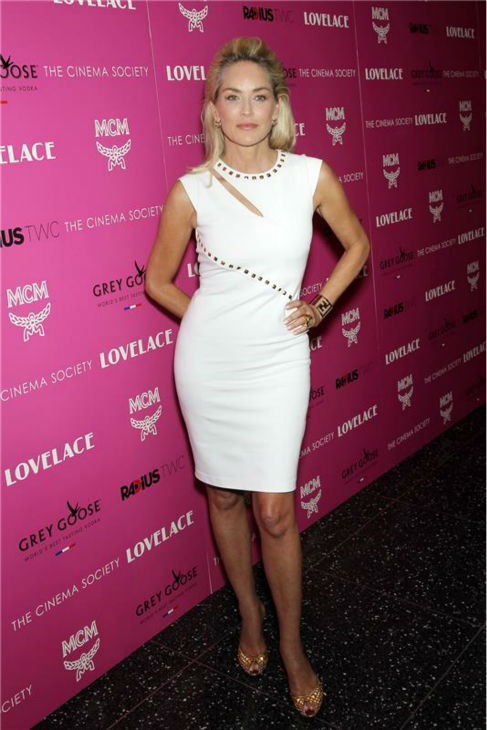 Sharon Stone attends a screening of 'Lovelace,' hosted by the Cinema Society and MCM with Grey Goose, at the Metropolitan Museum of Art (MoMa) in New York on July 30, 2013.