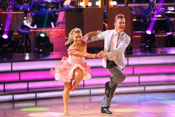 "<div class=""meta ""><span class=""caption-text "">Olympic gymnast Shawn Johnson and her partner Derek Hough received 25 out of 30 points from the judges for their Jive on week two of 'Dancing With The Stars: All-Stars,' which aired on Oct. 1, 2012. (ABC / Adam Taylor)</span></div>"
