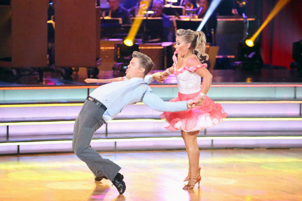 Olympic gymnast Shawn Johnson and her partner Derek Hough received 25 out of 30 points from the judges for their Jive on week two of 'Dancing With The Stars: All-Stars,' which aired on Oct. 1, 2012.