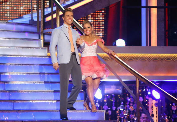 "<div class=""meta image-caption""><div class=""origin-logo origin-image ""><span></span></div><span class=""caption-text"">Olympic gymnast Shawn Johnson and her partner Derek Hough received 25 out of 30 points from the judges for their Jive on week two of 'Dancing With The Stars: All-Stars,' which aired on Oct. 1, 2012. (ABC / Adam Taylor)</span></div>"