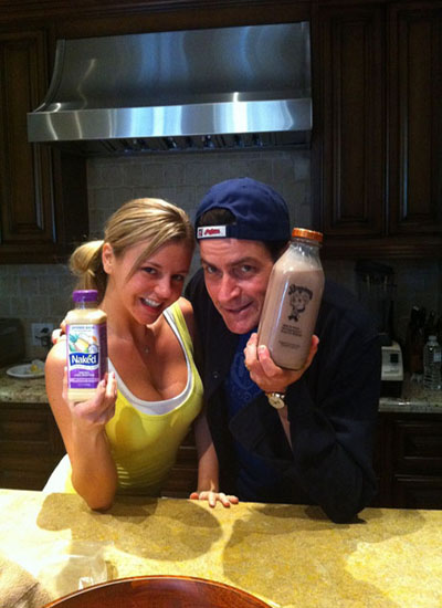 Charlie Sheen and pornstar, Bree Olsen, at his home. The photo was taken by Sheen for his personal Twitter account.
