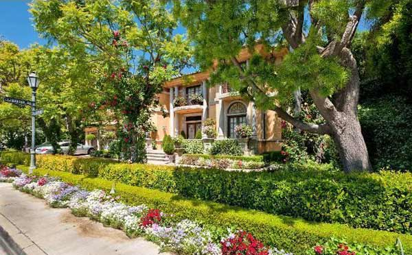 A view of the front of Charlie Sheen's home,...