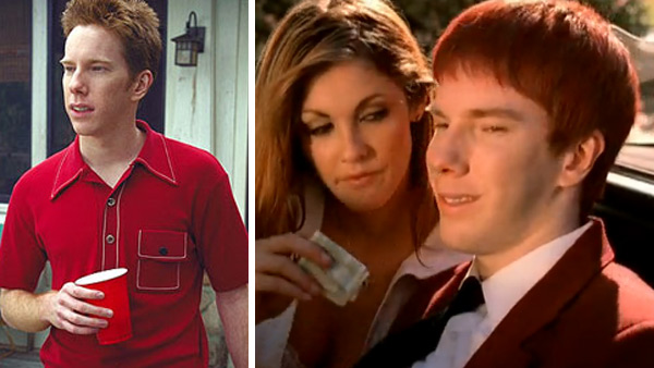 Chris Owen appears in a scene from 'American Pie' in 1999. / Chris Owen appears in a scene from Something Corporate's 'If You C Jordan' music video in 2009.
