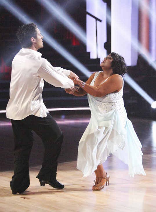 &#39;The View&#39; co-host Sherri Shepherd and her partner Valentin Chmerkovskiy received 24 out of 30 points from the judges for their Rumba on week three of &#39;Dancing With The Stars,&#39; which aired on April 2, 2012. <span class=meta>(ABC Photo)</span>