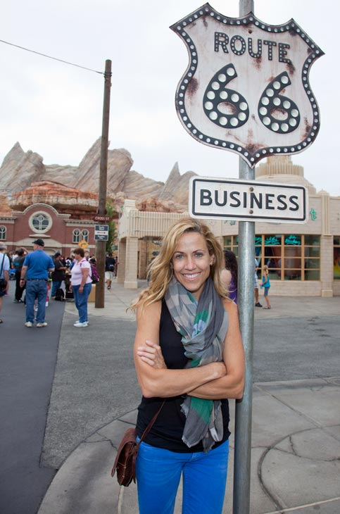 Sheryl Crow poses at Cars Land in Disney California Adventure Park in Anaheim, California, on Wednesday, July 25, 2012.