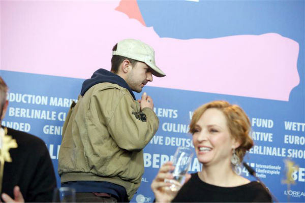 "<div class=""meta ""><span class=""caption-text "">Shia LaBeouf walks out of a press conference for 'Nymphomaniac Volume I' at the Berlin Film Festival on Feb. 9, 2014 after responding to one question. Pictured right: Co-star Uma Thurman. (Hubert Boesl / Startraksphoto.com)</span></div>"