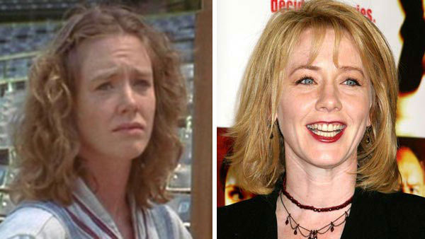 Left -- Ann Cusack appears in a still from 'A League of Their Own.' Right -- Ann Cusack appears at the premiere of 'Runaway Jury' on New York City in 2003.