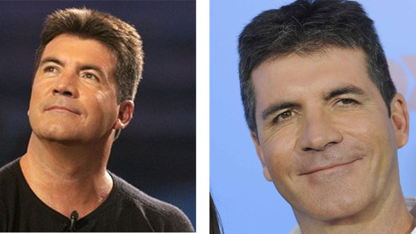 Pictured:  On the left, Simon Cowell appears at...