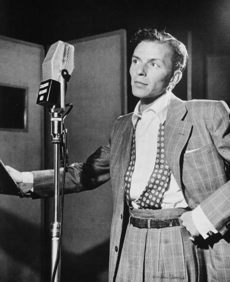 Frank Sinatra is seen in this 1947 photo taken by William P. Gottlieb. It is on display at Liederkrantz Hall in New York City.