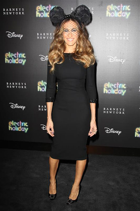 Sarah Jessica Parker wears a pair of custom-made L&#39;Wren Scott Mickey Mouse ears and a black dress by the designer and Manolo Blahnik heels at the opening night of Eve Ensler&#39;s off-Broadway production of &#39;Emotional Creature&#39; at Barney&#39;s in New York on Nov. 14, 2012. <span class=meta>(Kristina Bumphrey &#47; Startraksphoto.com)</span>