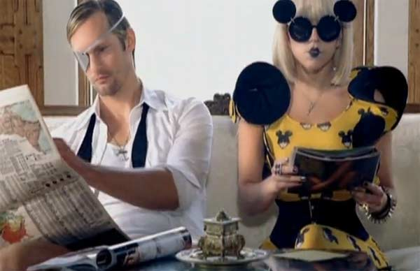 Alexander Skarsg�rd appears in a scene from the 2009 music video 'Paparazzi.'