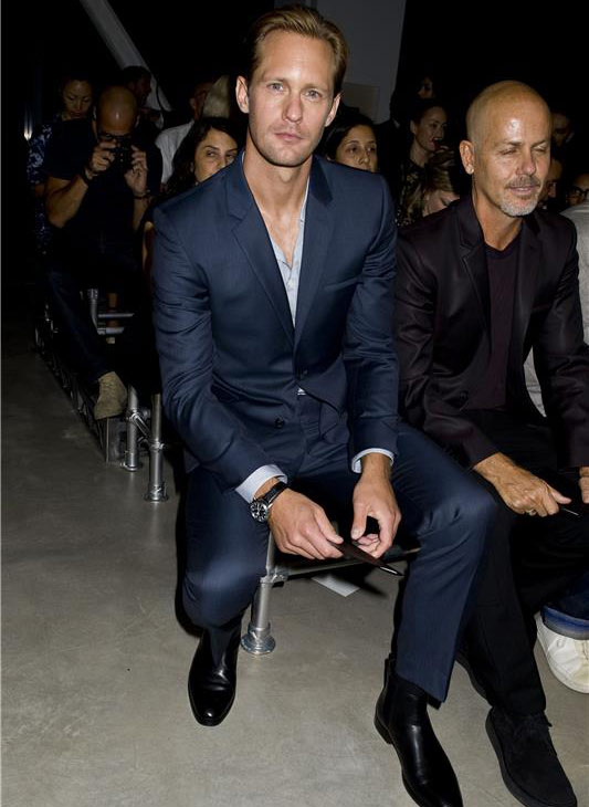 'True Blood' star Alexander Skarsgard appears at the Spring 2014 Calvin Klein Fashion Show during Mercedez-Be