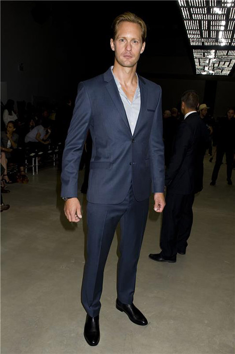'True Blood' star Alexander Skarsgard appears at the Spring 2014 Calvin Klein Fashion Show during Mercedez-Benz Fashion Week
