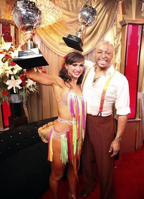 "<div class=""meta image-caption""><div class=""origin-logo origin-image ""><span></span></div><span class=""caption-text"">'All My Children' actor and Iraq War veteran J.R. Martinez and his partner Karina Smirnoff react to winning season 13 of 'Dancing With The Stars' on Tuesday, November 22. The couple received 30 out of 30 for their Instant Samba and 28 out of 30 for their favorite dance, a Jive from week 2. On Monday the pair received 24 out of 30 from the judges for their Cha Cha and 30 out of 30 for their Freestyle dance for a total of 54 out of 60. (ABC / Adam Taylor)</span></div>"