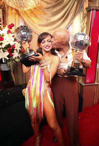 "<div class=""meta ""><span class=""caption-text "">'All My Children' actor and Iraq War veteran J.R. Martinez and his partner Karina Smirnoff react to winning season 13 of 'Dancing With The Stars' on Tuesday, November 22. The couple received 30 out of 30 for their Instant Samba and 28 out of 30 for their favorite dance, a Jive from week 2. On Monday the pair received 24 out of 30 from the judges for their Cha Cha and 30 out of 30 for their Freestyle dance for a total of 54 out of 60. (OTRC Photo)</span></div>"