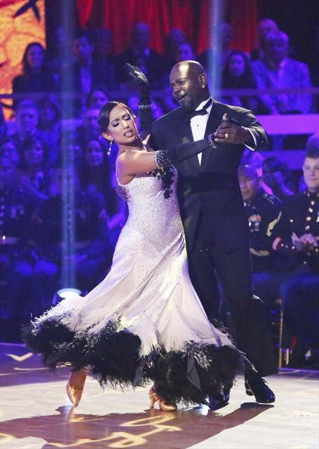 "<div class=""meta image-caption""><div class=""origin-logo origin-image ""><span></span></div><span class=""caption-text"">Retired NFL star Emmitt Smith and his partner Cheryl Burke received 28 out of 30 points from the judges for their Viennese Waltz on  'Dancing With The Stars: All-Stars,' which aired on November 12, 2012. (ABC / OTRC)</span></div>"