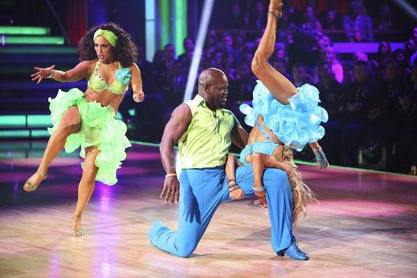 Retired NFL star Emmitt Smith and his dance partners Cheryl Burke and Kym Johnson received 30 out of 30 points from the judges for  their Salsa on &#39;Dancing With The Stars: All-Stars,&#39; which aired on November 12, 2012. <span class=meta>(ABC &#47; OTRC)</span>