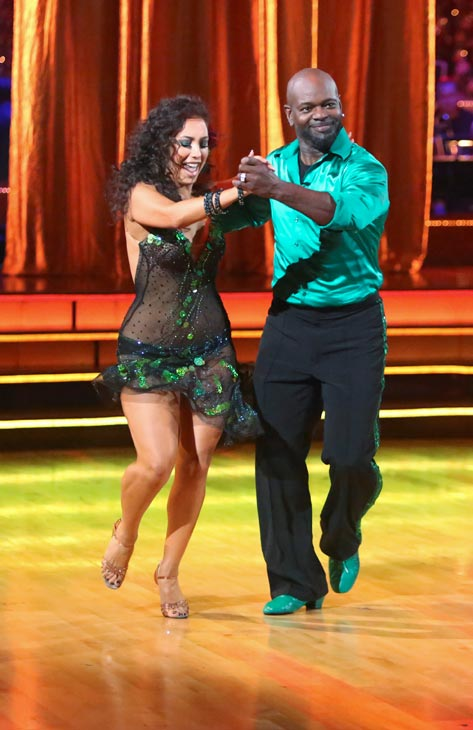 "<div class=""meta ""><span class=""caption-text "">Retired NFL star Emmitt Smith and his partner Cheryl Burke received 24.5 out of 30 points from the judges for their Cha Cha Cha on the season premiere of 'Dancing With The Stars: All-Stars,' which aired on September 24, 2012. (ABC / Adam Taylor)</span></div>"