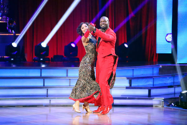 Retired NFL star Emmitt Smith and his partner Cheryl Burke received 22.5 out of 30 points from the judges for their Quickstep on week two of 'Dancing With The Stars: All-Stars,' which aired on Oct. 1, 2012.