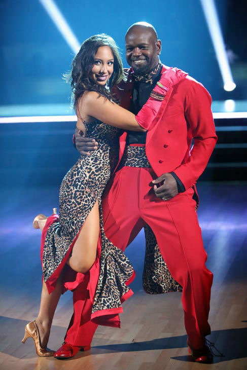 "<div class=""meta ""><span class=""caption-text "">Retired NFL star Emmitt Smith and his partner Cheryl Burke received 22.5 out of 30 points from the judges for their Quickstep on week two of 'Dancing With The Stars: All-Stars,' which aired on Oct. 1, 2012. (ABC / Adam Taylor)</span></div>"