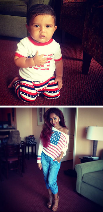 Snooki of &#39;Jersey Shore&#39; fame shared these Instagram photos of herself and baby son Lorenzo on July 4, 2013, saying: &#39;Fourth of July outfit ... this mommy is ready&#39; and Lorenzo&#39;s first pledge of allegiance.&#39; <span class=meta>(instagram.com&#47;p&#47;bXGM4RhjqQ&#47; instagram.com&#47;p&#47;bXB3WQhjhX&#47; twitter.com&#47;snooki)</span>
