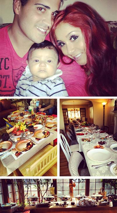 Snooki of &#39;Jersey Shore&#39; Tweeted these Instagram photos of herself, her fiance and her son on Nov. 22, 2012. &#39;Happy Thanksgiving! Lorenzo&#39;s first!!!!!&#39; she said, referring to her child. &#39;I&#39;m thankful for my beautiful and healthy baby boy and my amazing fiance. And of course my AMAZING fans&#47;supporters!&#39; <span class=meta>(twitter.com&#47;snooki&#47;status&#47;271594441775665153 &#47; instagr.am&#47;p&#47;SWEA1Ahjsb&#47; http:&#47;&#47;instagram.com&#47;p&#47;SV8xcQhjjO&#47;)</span>