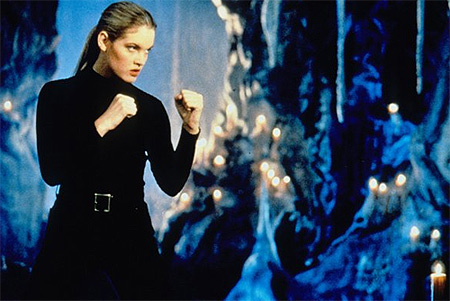 Cameron Diaz was set to play Sonya Blade in the 1995 movie &#39;Mortal Kombat&#39; but broke her wrist while taking karate lessons to prepare for the role and was replaced by Bridgette Wilson. &#40;Pictured: Bridgette Wilson appears in the 1995 movie &#39;Mortal Kombat.&#39;&#41; <span class=meta>(New Line Cinema)</span>