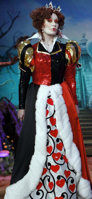 Sharon Osbourne dressed up as the Queen of Hearts for Halloween 2012 and appeared with the costume, along with her co-hosts, on the CBS daytime talk show &#39;The Talk,&#39; which had an &#39;Alice In Wonderland&#39; theme. She Tweeted: &#39;Off with their heads!&#39; <span class=meta>(twitter.com&#47;MrsSOsbourne)</span>