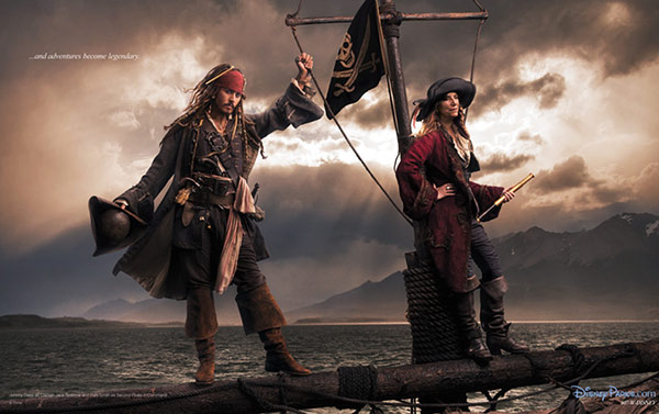 Johnny Depp plays Captain Jack Sparrow and...