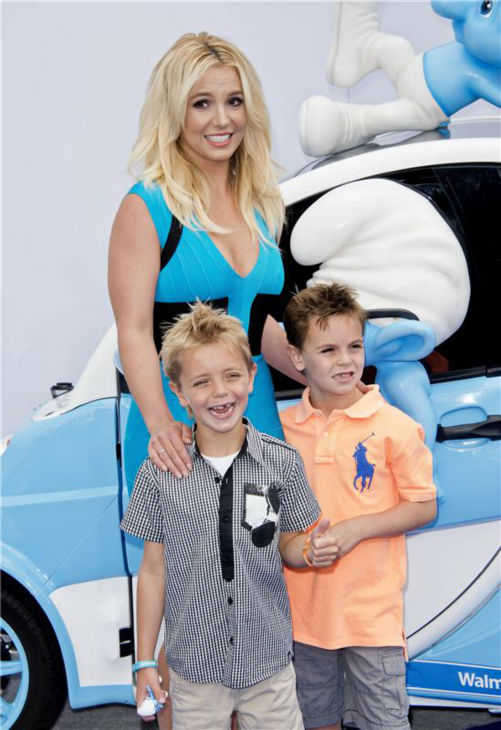 Britney Spears and sons Sean Preston, 7, and Jayden James, 6, attend the premiere of 'The Smurfs 2' at the Regency Village Theatre in Westwood, near Los Angeles, on July 28, 2013.