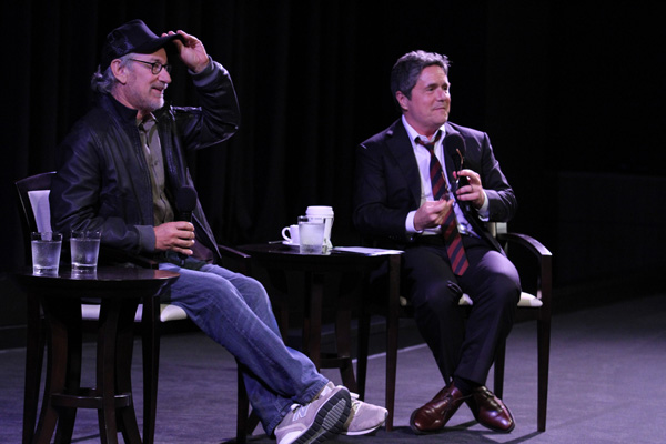 Steven Spielberg and Paramount Chairman and CEO Brad Grey at the 'Indiana Jones and the Raiders of the Lost Ark' special screening at Paramount Studios in Hollywood, California on Sept. 13, 2012.