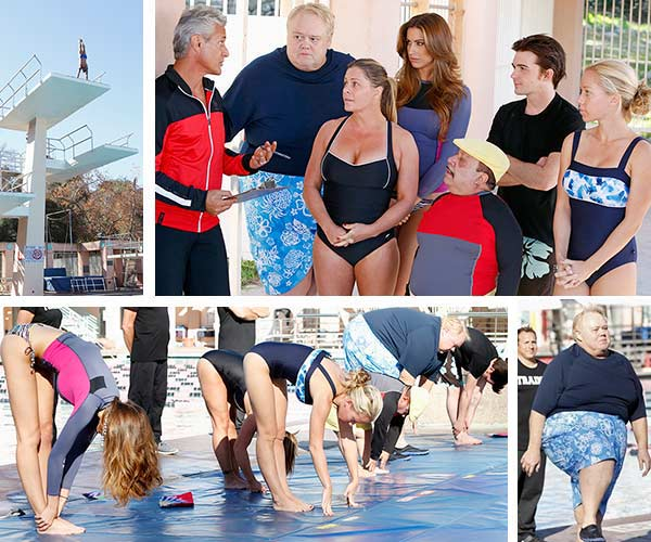 The cast of ABCs Splash -- Greg Louganis and contestants Nicole Eggert, Katherine Wedd, Chuy Bravo, Drake Bell and Kendra Wilkinson appear in a scene from the premiere, which aired on March 19, 2013. Also pictured: Louis Anderson (bottom). - Provided courtesy of ABC Photo / Kelsey McNeal