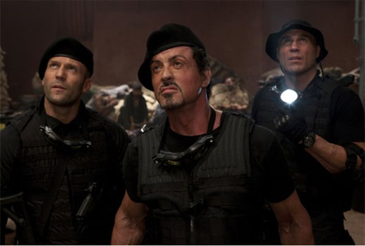 Sylvester Stallone, Jason Statham and Randy Couture in a scene from 'The Expendables.'