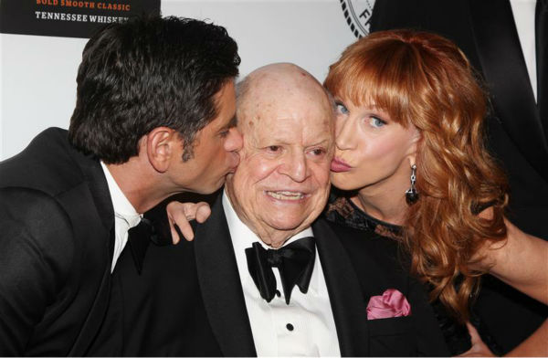 The time legendary insult comedian Don Rickles, 87, got kissed by both John Stamos and Kathy Griffin after receiving the Friars Club Lifetime Achievement Award for Comedy at the annual Friars Foundation Applause Award Gala at the Waldrof Astoria hotel in New York on June 24, 2013. <span class=meta>(Amanda Schwab &#47; Startraksphoto.com)</span>
