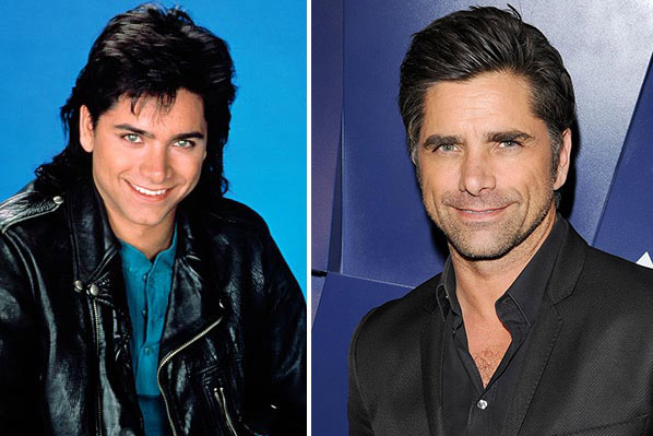 John Stamos appears in a promotional photo for the series 'Full House.' / John Stamos appears at the Delta Air Lines Host Star Studded Summer Celebration in Hollywood, California on Aug. 15, 2013.