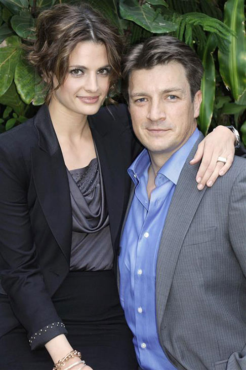 Stana Katic and Nathan Fillion appear at a press conference for ABC&#39;s &#39;Castle&#39; at the Four Seasons hotel in Beverly Hills, California on April 9, 2010. <span class=meta>(Munawar Hosain &#47;startraksphoto.com)</span>