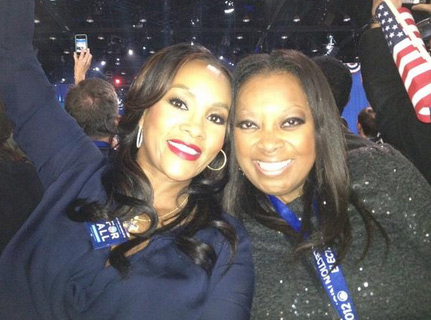 TV personality Star Jones celebrates after President Barack Obama is re-elected on Nov. 6, 2012.