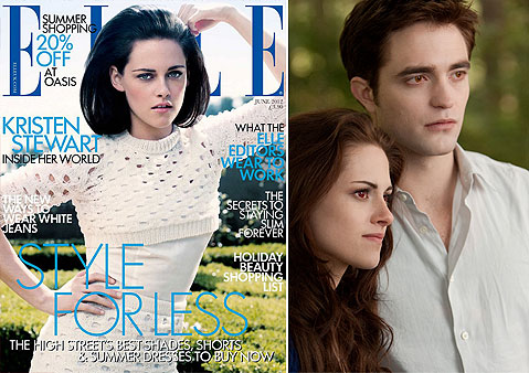 Kristen Stewart appears on the cover of ELLE UK magazines June 2012 issue. / Kristen Stewart and Robert Pattinson appear in a scene from the 2012 movie Twilight: Breaking Dawn - Part 2. - Provided courtesy of ELLE UK / Andrew Cooper / Summit Entertainment