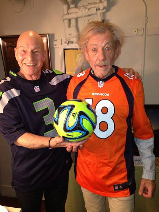 Patrick Stewart shared this 2014 Super Bowl-themed picture of himself with Ian McKellen on Jan. 31, 2014, two days before Super Bowl XLVIII. <span class=meta>(pic.twitter.com&#47;rdtXP6IGTE &#47; twitter.com&#47;SirPatStew&#47;status&#47;429274877884121089)</span>