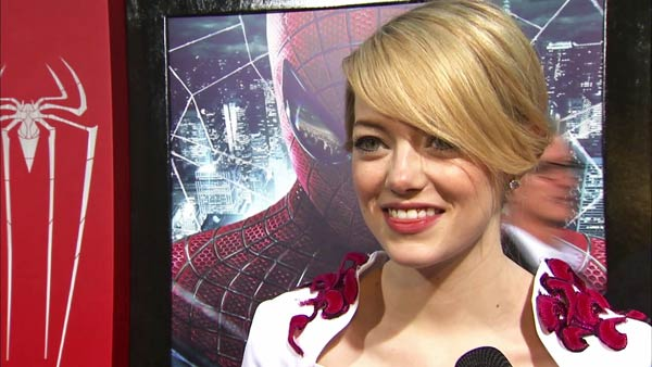 Emma Stone talks to OnTheRedCarpet.com at the Hollywood premiere of 'The Amazing Spider-Man,' at Westwood's Regency Village Theatre in Los Angeles on June 28, 2012.