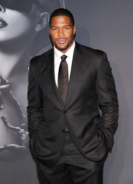 "<div class=""meta ""><span class=""caption-text "">Michael Strahan arrives at a ""Lady Gaga Fame"" fragrance launch event at the Guggenheim Museum on Thursday, Sept. 13, 2012 in New York.The black tie masquerade event featured a performance art piece by Lady Gaga, 'Sleeping with Gaga.' The film for 'Lady Gaga Fame,' directed by Steven Klein, was also unveiled. (Evan Agostini)</span></div>"