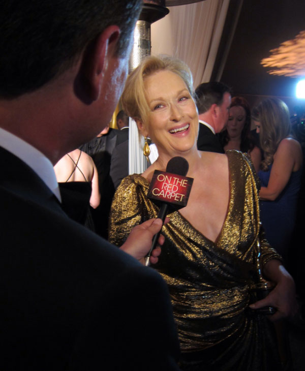 Meryl Streep turns 63 on June 22, 2012. The actress is known for movies such as &#39;The Devil Wears Prada,&#39; &#39;Doubt&#39; and &#39;Out of Africa&#39; and won her third Oscar, for the film &#39;The Iron Lady,&#39; in 2012. &#40;Pictured: Meryl Stree[ talks to OnTheRedCarpet.com after the 2012 Academy Awards in Los Angeles on Feb. 26, 2012.&#41; <span class=meta>(OTRC)</span>