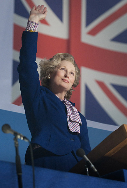 Meryl Streep appears as Margaret Thatcher in a scen