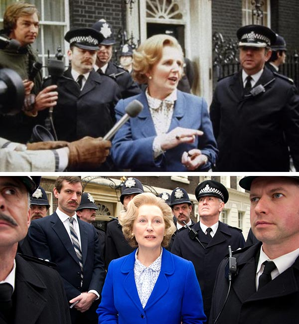 Meryl Streep appears in a scene from the 2011 film The Iron Lady. / Margaret Thatcher arrives at her office at No. 10 Downing Street in London in 1979. - Provided courtesy of The Weinstein Company / British Prime Ministers Office Press