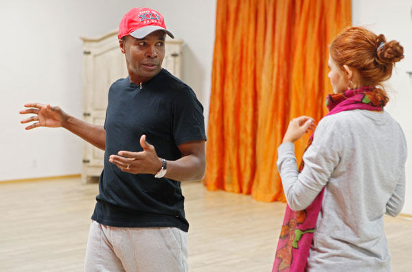 "<div class=""meta ""><span class=""caption-text "">Sugar Ray Leonard tells dancing partner Anna Trebunskaya about a fish he caught during rehearsal for season 12 of 'Dancing With the Stars,' which premieres on March 21 at 8 p.m. on ABC. (ABC Photo/ Greg Zabilski)</span></div>"