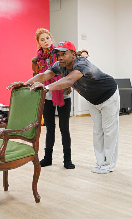Sugar Ray Leonard gets his stretch on with partner Anna Trebunskaya during rehearsal for season 12 of 'Dancing With the Stars,' which premieres on March 21 at 8 p.m. on ABC.